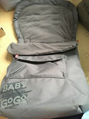 baby gogo footmuff. grey, multi slot. fleece lined and water-resistant. front...