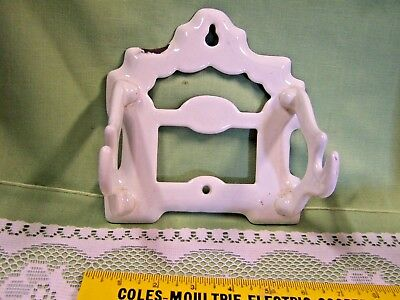 Antique Vintage White Enamel Cast Iron Toilet Paper Holder