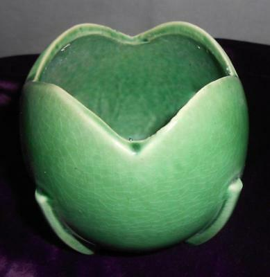 Nelson McCoy NM Art Deco Style Jade Green Buttressed Tulip Ball Vase 1940's