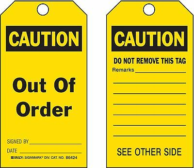 """Brady Polyester, Out Of Order Caution Tag, 5-3/4"""" Height, 3"""" Width - 87000"""