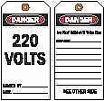 "Brady Heavy-Duty Polyester, 220 Volts Danger Tag, 5-3/4"" Height, 3"" Width -"