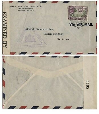 Curacao, Business letter Aruba to Chicago, Censored, 1943.