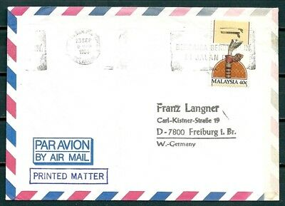 Malaysia 1984 Cover, Posted To Germany, Slogan Postmark -Cag 130818