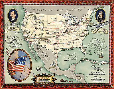 Early Map Air Mail Passenger Routes in the US Aviation History Wall Art Poster