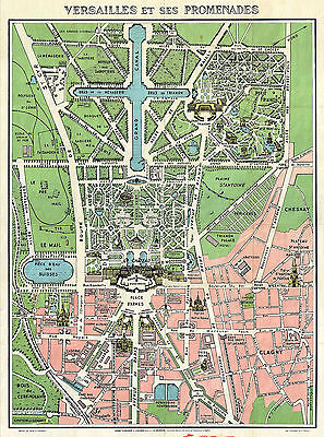 1920 Map Paris Versailles Monuments Vintage Wall Poster Home School Office