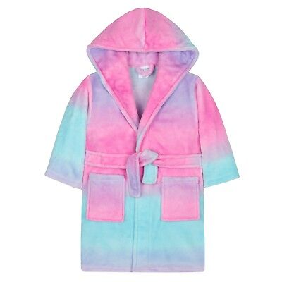 Infant Girls unicorn rainbow colours Dressing Gown Robe Plush Fleece age 2 to 13