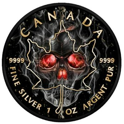 Maple Leaf Smoked Skull – 2018 1 Oz Pure Silver Coin – Black Ruthenium And Color