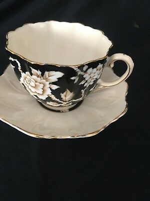 Paragon Cup & Saucer SET Black & White Floral HM The Queen H M Queen Mary VTG