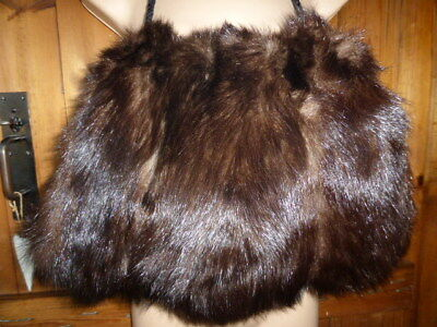 Large Vintage Real Mink Glossy Fur Hand warmer, Muff with Cord, Dark Brown