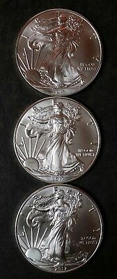 Lot of 3 2017 $1 American Silver Eagle Dollars .999 Fine Silver *Free Shipping*