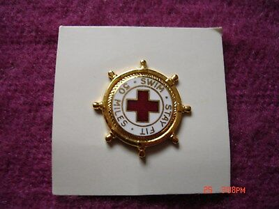 """Vintage RED CROSS """"Stay Fit - Swim 50 Miles"""" Pin"""