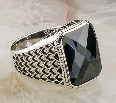 KIND Turkish 925 Sterling Silver  black onyx stone mens man ring ALL SİZE us
