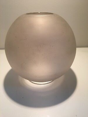 round frosted oil lamp shade with a clear glass band at the bottom