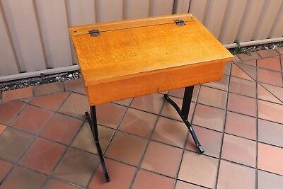 Vintage Wooden Silky Oak School Desk