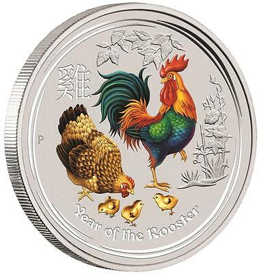 LUNAR YEAR OF THE ROOSTER - 2017 2 oz Pure Silver Color BU Coin - AUSTRALIA