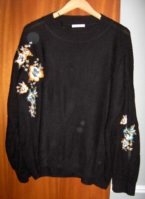 Ladies Jumper Tu Black With Embroidery   Size 22