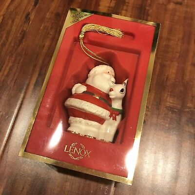 Lenox Rudolph With Santa Ornament - New In Box