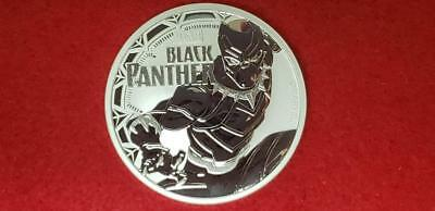 2018 Tuvalu 1 Dollar Marvel  Black Panther Round 1 Oz. .9999 Silver Nice Coin