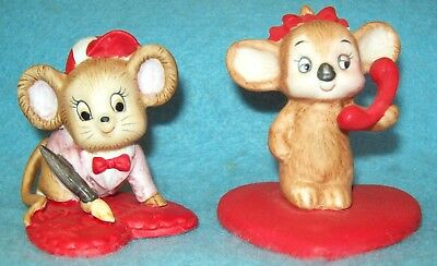 2 Vintage LEFTON    Valentine Mice Mouse Figurines RED HEART 02743 & 00120  CUTE