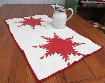 "Patriotic Red! c 1880s Feathered Star ANTIQUE Table Runner 35"" x 20"""