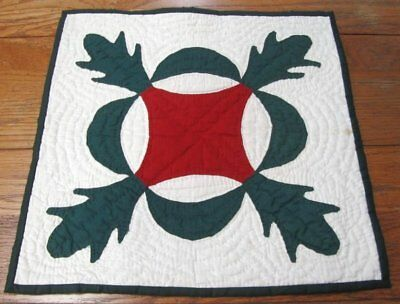 Early Antique PA c 1880s Red Green APPLIQUE Table Quilt Doll ECHO Quilting
