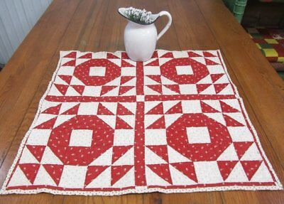 "Americana Red! c 1880s Goose in the Pond ANTIQUE Quilt Table 27"" x 26"""