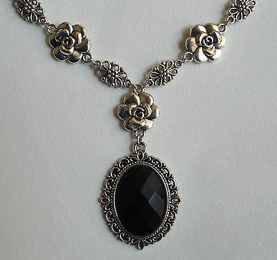 Camellia Filigree Victorian Style Faceted Black Acryl Silver Plated Necklace Cf