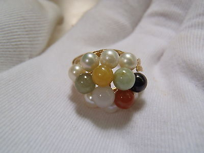Ming's Signed 14k Yellow Gold Multi Color Jade Pearl Ring w 2 side leaf accent