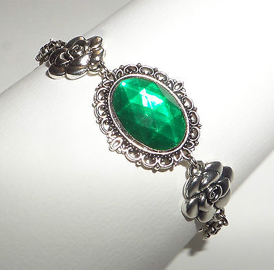 Camellia Filigree Victorian Style Emerald Green Silver Plated Bracelet Cfb