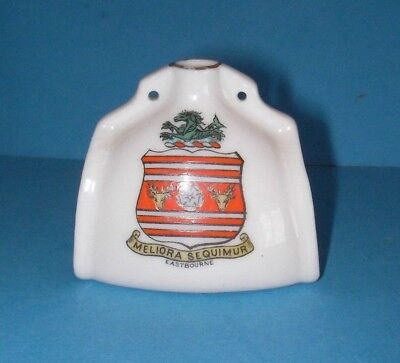 Goss Crested China Canterbury Leather Bottle Eastbourne Crest