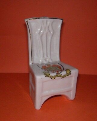 Crested China  Burns Chair  Ancient Arms of Bedford Crest