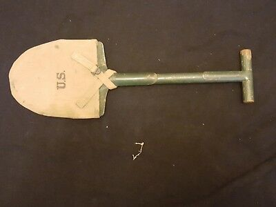 ORIGINAL M1910 WWI WW1 US ARMY T-HANDLE Trench SHOVEL W/ Cover Dated 1918