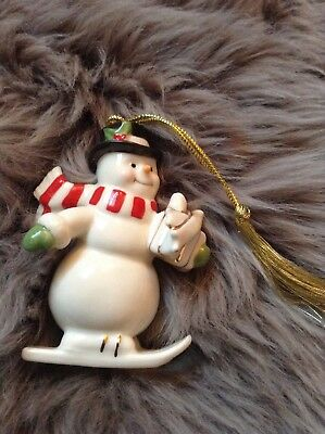 Lenox Snowman on Skis Christmas Ornament