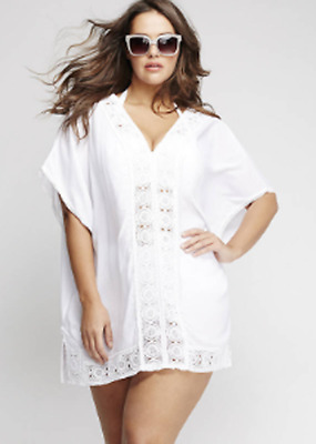ea33a060d8 LANE BRYANT LELA Rose Cacique Swim EYELET CAFTAN COVER UP White Plus ...
