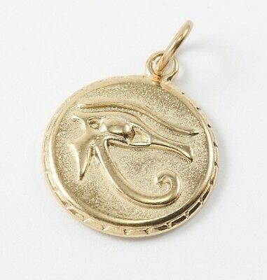 Eye of Horus WADJET 23mm Stainless Steel Gold Golden Tone Egyptian Pendant