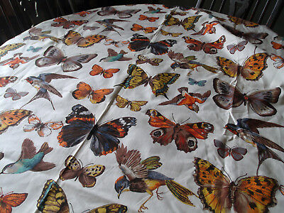 "Vintage Heavy Cotton Decorator Fabric ""Copr""- Butterflies and Birds"