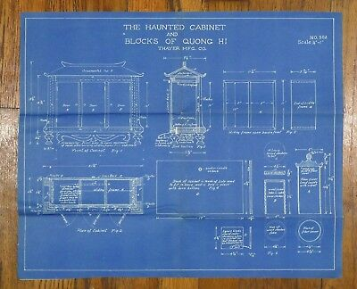 "Rare Vintage ""The Haunted Cabinet"" Magic Trick Blueprint Thayer Mfg Co"