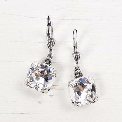 Catherine Popesco Antique Silver Tone Square Swarovski Crystal Earrings in Clear