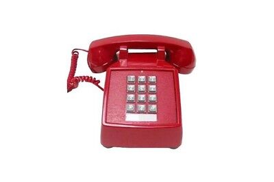 """Push Button Corded Desk Phone """"Vintage Style"""" Made In USA - Red"""