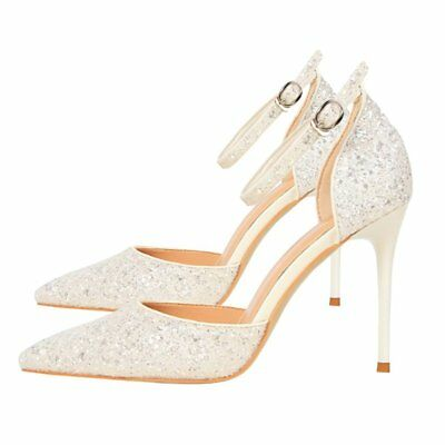 Bling High Heels Women Pumps Glitter Thin Heel Lady Shoes Wedding Party Shoes NP