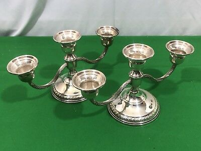 Sterling Silver Weighted Candelabra Candle Holders ! No Scrap  !! 574 Gr