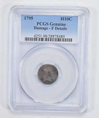 Genuine Damage F Details 1795 Flowing Hair Half Dime - PCGS Graded *2051