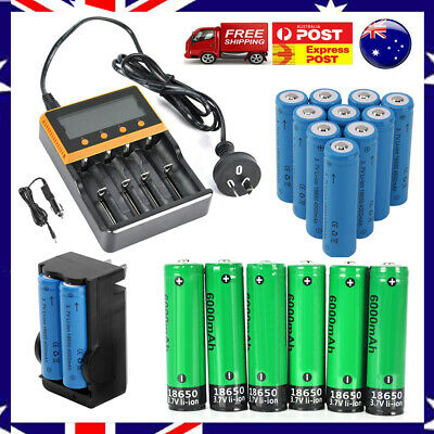 Genuine Rechargeable 3.7V 4000mAh 18650 Li-ion Battery+Charger Kit For Headlamp