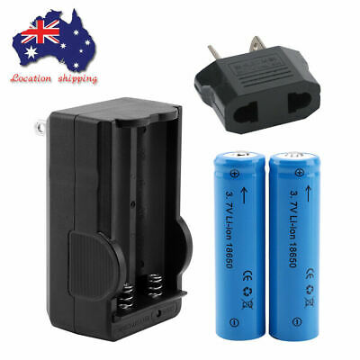 2x 18650 Battery 3.7V 4000mAh Li-ion Rechargeable for Torch & Charger+AU Adaptor