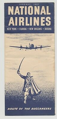 National Airlines System Timetable 1947 NAL DC4 to Havana Cuba