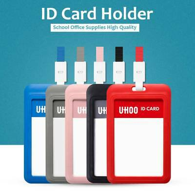 NEW Plastic Clear Business Work Office Card Badge Lanyard Holder ID Cards Case