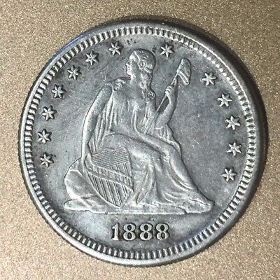 AU 1888 S Seated Liberty Silver Quarter Nice High Grade Details Coin