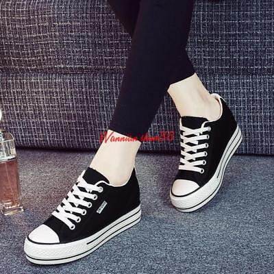 84dc1ffcda2f Womens Lace up Hidden Wedge Heel Canvas Casual Sneakers Athletic Preppy  Shoes SZ