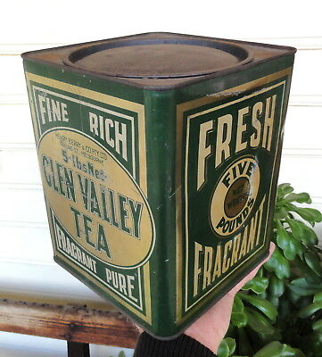 GREAT CONDITION 5lb GLEN VALLEY GREEN TEA TIN. Made by WILSON Bros of Melbourne
