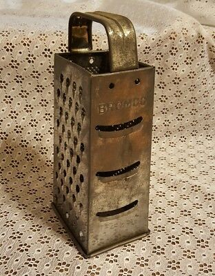 Vintage Bromco Four Sided Metal Box Vegetable Cheese Grater-Rustic Antique